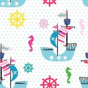 "7"" Ahoy Polka Dots for Girls"