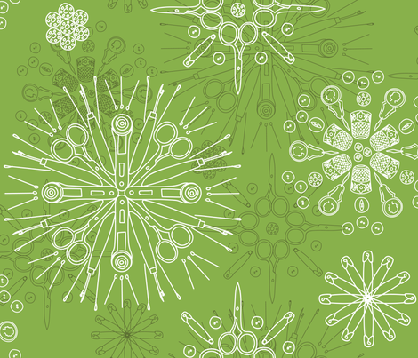 Greenery sewing notions in snowflake mandalas fabric by calendulaandtape on Spoonflower - custom fabric
