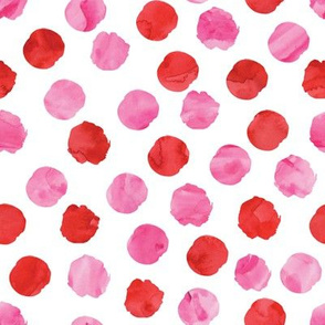 valentines watercolor dots || red and pink