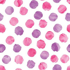 watercolor dots pink and purple