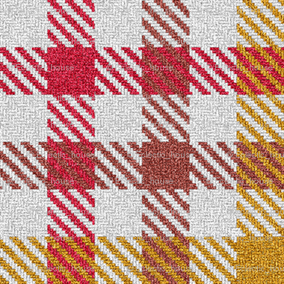 Tricolor Gingham Red Brown Yellow