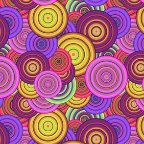 CRAZY RAINBOW CIRCLES PSYCHEDELIC original Pink burgundy corn yellow