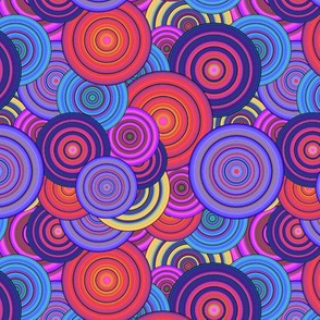 CRAZY RAINBOW CIRCLES PSYCHEDELIC PERIWINKLE CORAL