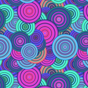 CRAZY RAINBOW CIRCLES PSYCHEDELIC ice mint fuchsia blue