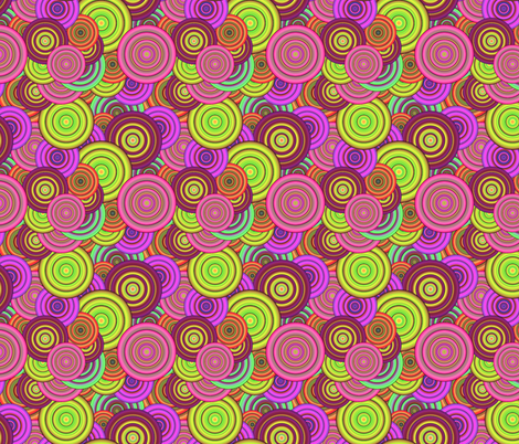 CRAZY RAINBOW CIRCLES PINK CHARTREUSE fabric by paysmage on Spoonflower - custom fabric
