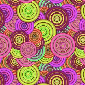 CRAZY RAINBOW CIRCLES PINK CHARTREUSE