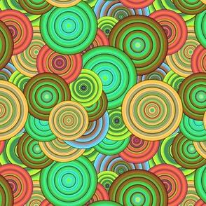 CRAZY RAINBOW CIRCLES PSYCHEDELIC SEVENTIES ORANGE GREEN