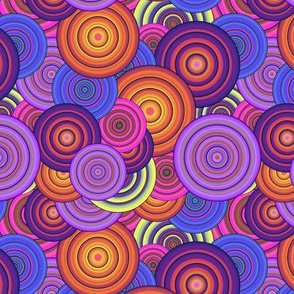 CRAZY RAINBOW CIRCLES PSYCHEDELIC orange purple blackcurrant peach beet