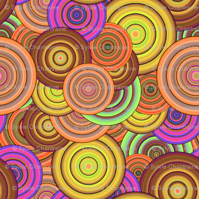 CRAZY RAINBOW CIRCLES PSYCHEDELIC mango melon caramel