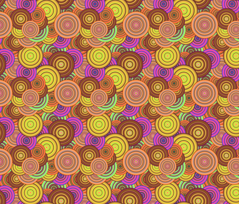 CRAZY RAINBOW CIRCLES PSYCHEDELIC mango melon caramel fabric by paysmage on Spoonflower - custom fabric