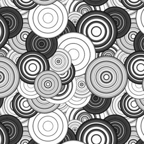 CRAZY RAINBOW CIRCLES PSYCHEDELIC BLACK AND WHITE BW