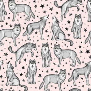 Wolves and Stars on Pink