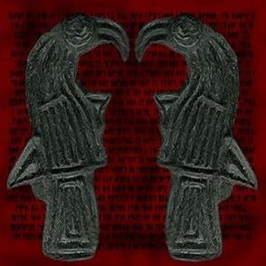 Ravens Green on Red Rune backing