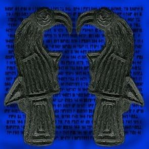 Ravens Green on blue rune backing