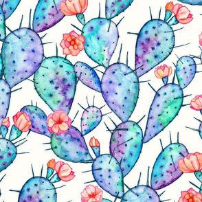 Rainbow Watercolor Cactus with Flowers large print