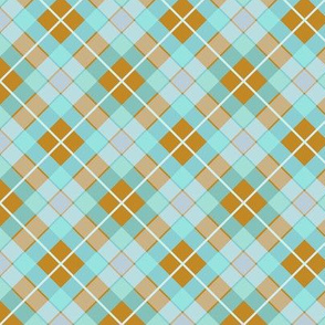 Plaid Mustard & Duckegg Mint Diagonal