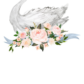 2 Yards Swan with Roses - LARGE