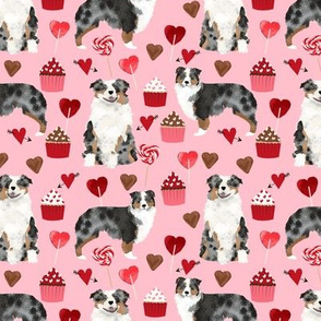 australian shepherd dog valentines fabric cute love dogs fabric