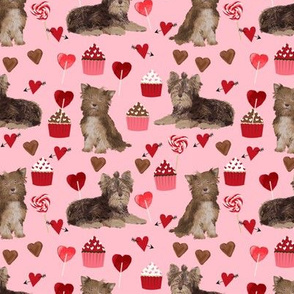 chocolate yorkie dog valentines fabric cute love dogs fabric