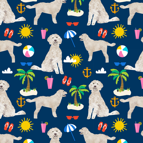 golden doodle dog beach summer fabric doodle fabric fabric by petfriendly on Spoonflower - custom fabric