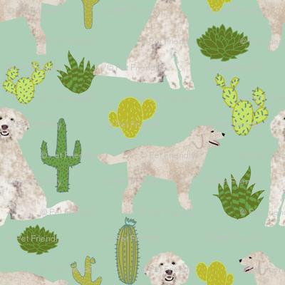 golden doodle dog cactus tropical summer fabric