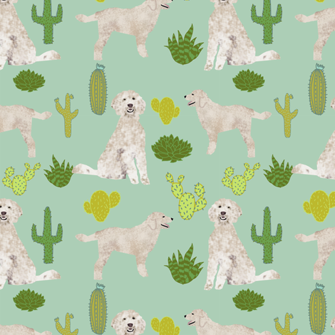 golden doodle dog cactus tropical summer fabric fabric by petfriendly on Spoonflower - custom fabric