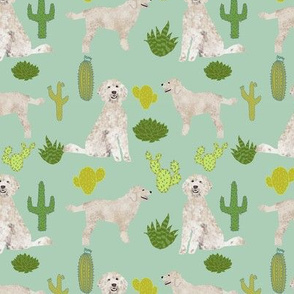 golden doodle dog cactus tropical summer fabric