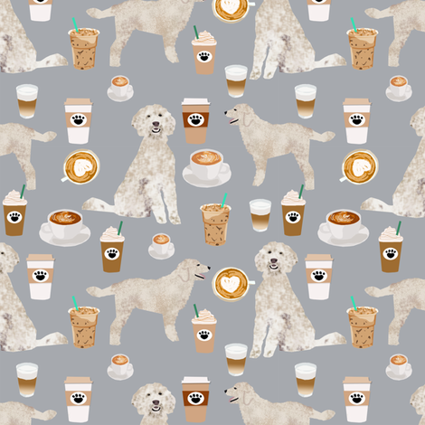 golden doodle fabric coffee fabric latte design doodle fabric fabric by petfriendly on Spoonflower - custom fabric