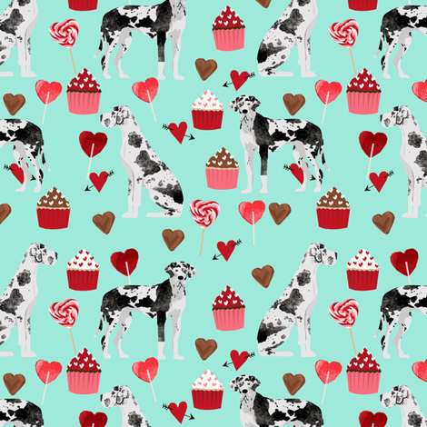 great dane valentines fabric cute black and white dog design best great danes fabric design fabric by petfriendly on Spoonflower - custom fabric