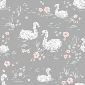 swans girls pastel  grey swan fabric cute girls swan design