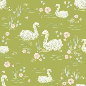 swans girls pastel lime green swan fabric cute girls swan design