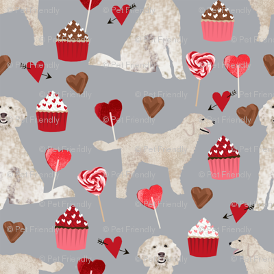 golden doodle dog fabric valentines love hearts fabric cute dogs design