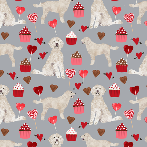 golden doodle dog fabric valentines love hearts fabric cute dogs design fabric by petfriendly on Spoonflower - custom fabric