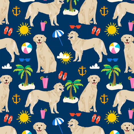 golden retriever beach fabric summer dog fabric golden retrievers fabric fabric by petfriendly on Spoonflower - custom fabric