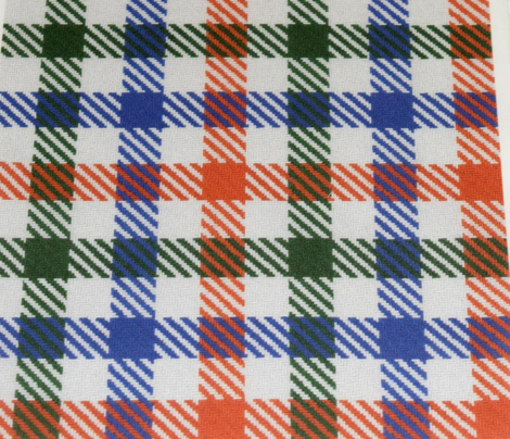 Tricolor Gingham Green Blue Orange