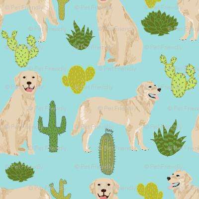 Golden Retriever Cactus Blue Tint Cactus Fabric Cute Dog