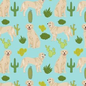 golden retriever cactus - blue tint cactus fabric cute dog design