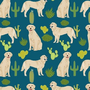 golden retriever cactus fabric - navy - golden retriever fabric, cactus fabric, cacti,