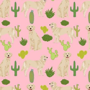 golden retriever cactus fabric - blossom pink - cactus dog fabric cute cactus design