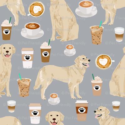 golden retriever coffee fabric - grey - coffee lattes fabric, coffee design, golden retriever fabric
