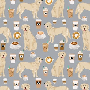 golden retriever coffee fabric - grey - coffee lattes fabric, coffee design, golden retriever fabric