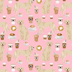 golden retriever fabric - coffee fabric - pink coffee design