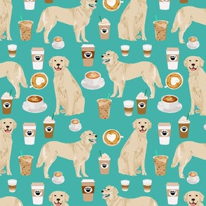 golden retriever fabric - turquoise - coffee fabric, coffee design