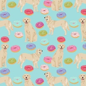 golden retriever donuts fabric - blue tint - donuts and food fabric, cute golden retrievers