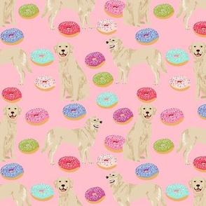 golden retriever donuts fabric - blossom pink - donuts and food fabric, cute golden retrievers