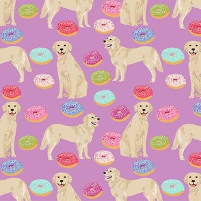 golden retriever donuts fabric - purple - donuts and food fabric, cute golden retrievers