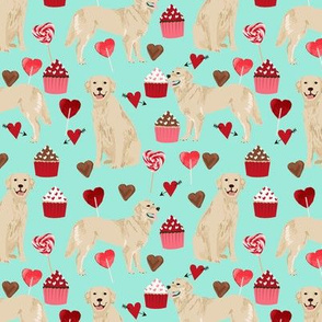 golden retriever valentines fabric - aqua - valentines love design, cute valentines love fabric