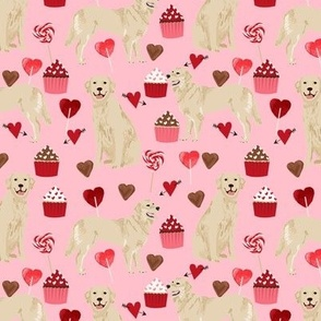 golden retriever valentines fabric - blossom - valentines love design, cute valentines love fabric