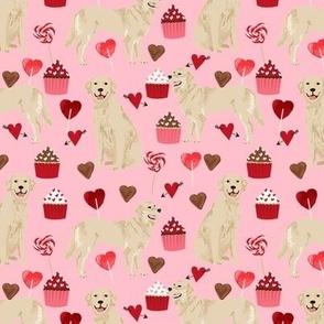 golden retriever valentines fabric - blossom - valentines love design, cute valentines love fabric
