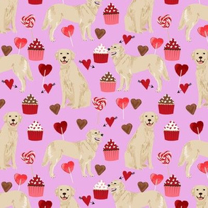 golden retriever valentines fabric - purple - valentines love design, cute valentines love fabric